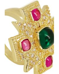 Kenneth Jay Lane - Green Maltese Cross Goldplated Cubic Zirconia Ring - Lyst
