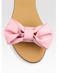 RED Valentino - Pink Bow-embellished Leather Sandals - Lyst