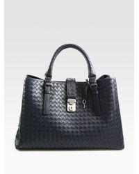 Bottega Veneta | Blue Roma Medium Intrecciato Leather Satchel | Lyst