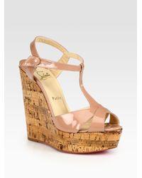76cbb944a62 Lyst - Christian Louboutin Marina Liege Patent Tstrap Wedge Sandals ...