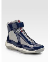 Prada | Metallic Grip-strap High-top Sneaker | Lyst