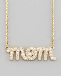 Sydney Evan | Metallic Diamond Mom Pendant Necklace | Lyst