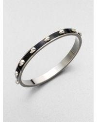 Alexander McQueen | Black 3d Enamel Skull Small Bangle Bracelet/silvertone | Lyst