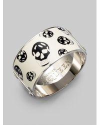 Alexander McQueen | Metallic Enamel Skull Large Bangle Bracelet | Lyst