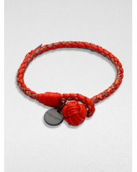 Bottega Veneta | Red Intrecciato Mixed Leather Wrap Bracelet | Lyst