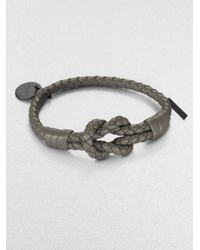 Bottega Veneta | Gray Intrecciato Knotted Leather Bracelet | Lyst
