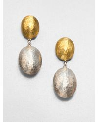 Gurhan - Metallic 24K Yellow Gold & Sterling Silver Jordan Drop Earrings - Lyst