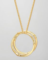 John Hardy - Metallic Bamboo 18k Gold Large Round Interlocking Pendant Necklace - Lyst