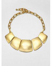 Kenneth Jay Lane - Metallic Geometric Bib Necklace - Lyst