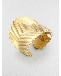 Kenneth Jay Lane | Metallic Ribbed Ribbon Cuff Bracelet | Lyst