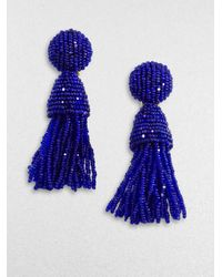 Oscar de la Renta | Blue Beaded Tassel Earrings | Lyst
