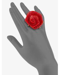 Oscar de la Renta - Red Molded Rose Ring - Lyst