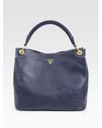 Prada | Blue Vitello Daino Hobo Bag | Lyst