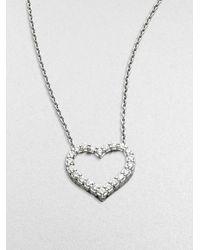 Roberto Coin - Metallic Tiny Treasures Diamond & 18k White Gold Open Heart Necklace - Lyst