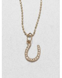 Sydney Evan | Metallic Diamond 14k Yellow Gold Horseshoe Necklace | Lyst
