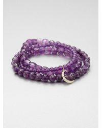 Sydney Evan | Purple Triple Wrap Amethyst Beaded Stretch Bracelet | Lyst
