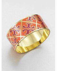 Tory Burch | Orange Enamel Logo Pattern Cuff Bracelet | Lyst