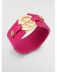 Tory Burch - Pink Logo Snap Leather Bracelet - Lyst