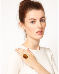 French Connection - Brown Tiger Eye Cabochon Ring - Lyst