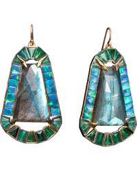 Nak Armstrong | Blue Labradorite Boulder Opal Emerald Earrings | Lyst