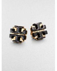 Tory Burch | Black Enamel Large Logo Stud Earrings | Lyst