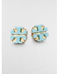 Tory Burch | Blue Enamel Large Logo Stud Earrings | Lyst