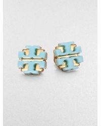 Tory Burch - Blue Enamel Large Logo Stud Earrings - Lyst