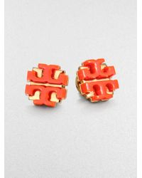Tory Burch | Orange Enamel Large Logo Stud Earrings | Lyst