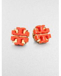 Tory Burch   Orange Enamel Large Logo Stud Earrings   Lyst