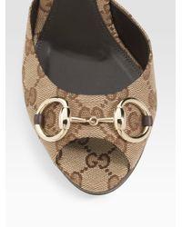 Gucci - Natural New Hollywood Horsebit Mules - Lyst