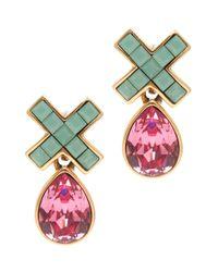 Oscar de la Renta - Pink Swarovski Pave X Drop Earrings - Lyst