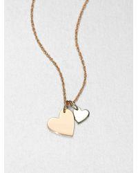 Jennifer Zeuner | Metallic Sterling Silver Double Heart Necklace | Lyst