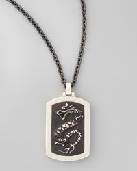 John Hardy - Black Naga Mens Silver Dragon Dog Tag Necklace for Men - Lyst