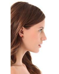 Tory Burch | Orange Enamel Large T Logo Stud Earrings | Lyst