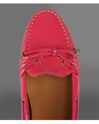 Emporio Armani - Pink Moccasin with Patent Effect and Rubber Sole - Lyst
