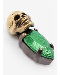 Iosselliani - Green Stone And Skull Earrings - Lyst