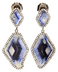Kimberly Mcdonald | Blue Double Sapphire Slice and Diamond Drop Earrings | Lyst