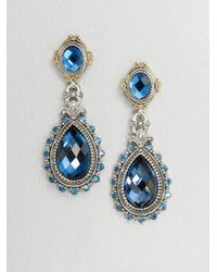 Konstantino | Blue Semiprecious Multistone Sterling Silver 18k Gold Teardrop Earrings | Lyst