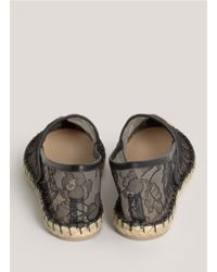 Valentino - Black Lace Espadrille Slip-ons - Lyst