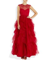 Valentino - Red Lace and Ruffled Silkorganza Gown - Lyst