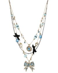Betsey Johnson - Blue Crystal Multi Charm Illusion Necklace - Lyst