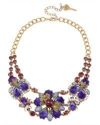 Betsey Johnson - Purple Antique Floral Necklace - Lyst