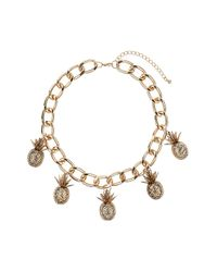 TOPSHOP - Metallic Pineapple Collar - Lyst