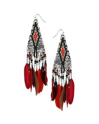 TOPSHOP - Red Bead and Feather Drop Earrings - Lyst