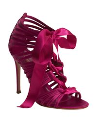 Gianvito Rossi - Purple Laceup Ribbon Sandal - Lyst