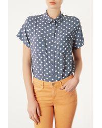 TOPSHOP - Blue Casual Crop Polka Dot Shirt - Lyst