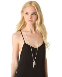 Rebecca Minkoff - Metallic Long Feather Necklace - Lyst