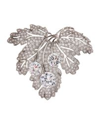 CZ by Kenneth Jay Lane - Gray Pave Cubic Zirconia Flat Leaf Pin - Lyst
