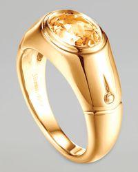 John Hardy | Metallic Batu Bamboo 18K Gold Citrine Signet Ring | Lyst