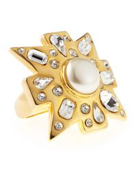 Kenneth Jay Lane - White Rhinestone Pearl Ring - Lyst